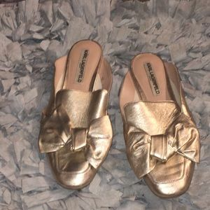 Karl Lagerfeld Gold Bow Slip On Shoes Size 8
